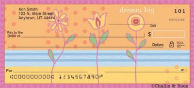 Challis and Roos Joyful Flowers Personal Check Designs